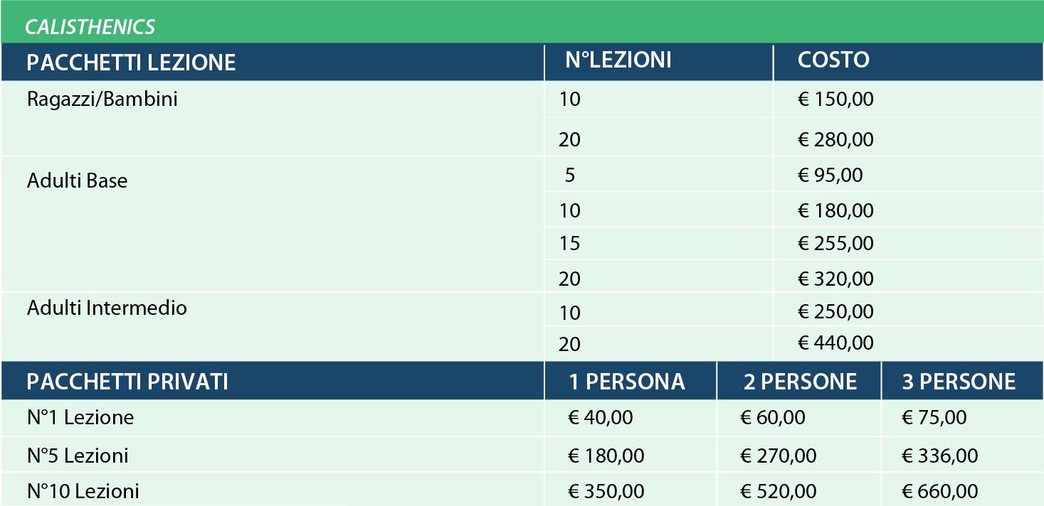 prezzi calisthenics